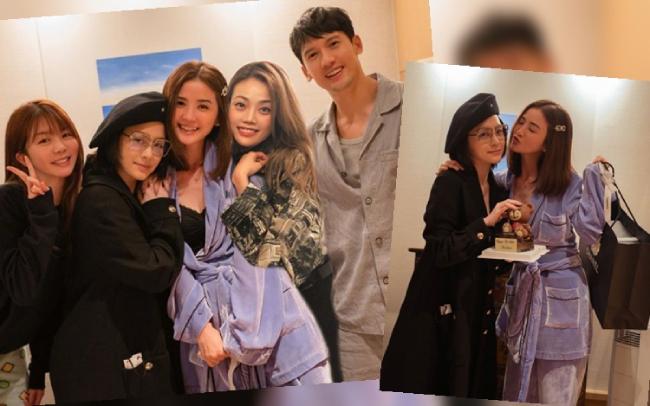 Thái Trác Nghiên và bạn bè trong tiệc hôm 21/11. Em gái Thạch Hằng Thông đứng ngoài cùng, bên trái.