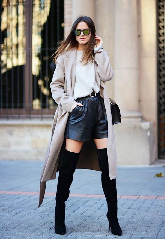 Đủ cách phối quần short mùa đông