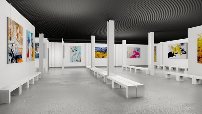 Trần Hùng chọn không gian triển lãm tranh để giới thiệu bộ sưu tập Pre-Fall 2021.