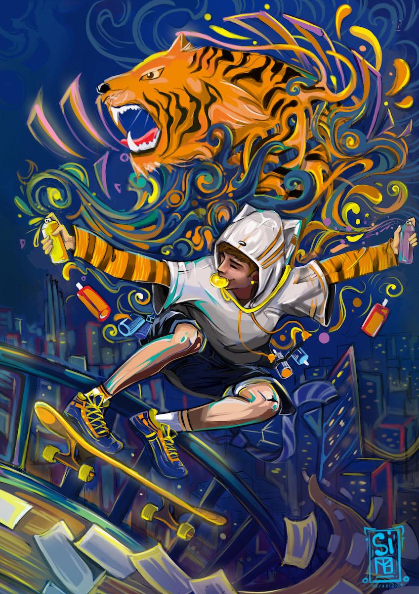 Bức vẽ của Cao Minh Thuận được đánh giá là tràn đầy sức sống nhờ những họa tiết ấn tượng, sống động và trẻ trung. Thuận chia sẻ rằng khí chất của tuổi trẻ, bản lĩnh để thể hiện bản sắc cá nhân là thứ thôi thúc anh tiến lên và giành lấy chiến thắng.