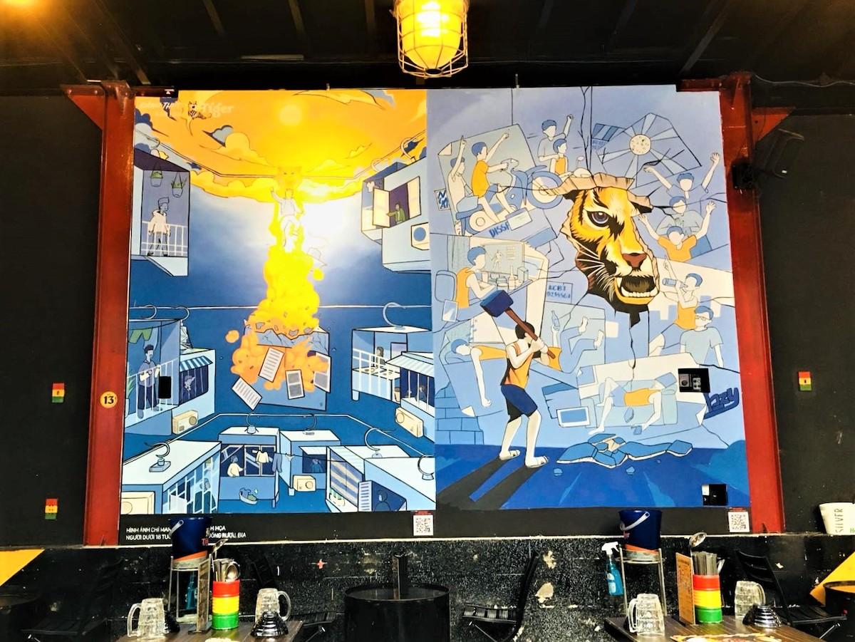 Không chỉ có những tác phẩm trừu tượng hay hầm hố, mỗi mảng tường tại Warning Zone là một sản phẩm nghệ thuật đặc sắc, mang màu sắc riêng, thể hiện nét độc đáo của người họa sĩ.