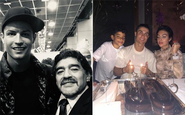 C. Ronaldo có hai bức ảnh lọt vào top 10 trong đó ảnh chụp bên cố huyền thoại Maradona xếp thứ nhất còn khoảnh khắc anh đón tuổi 35 bên bạn gái và cậu con trai đầu lòng xếp thứ 8. Ảnh: Instagram.