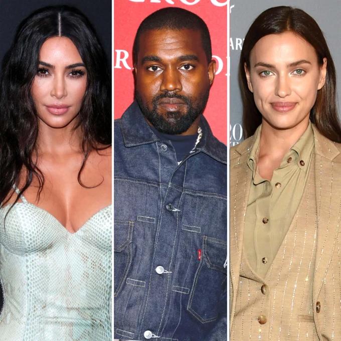 Kim (trái) không phản đối Kanye West hẹn hò Irina Shayk.